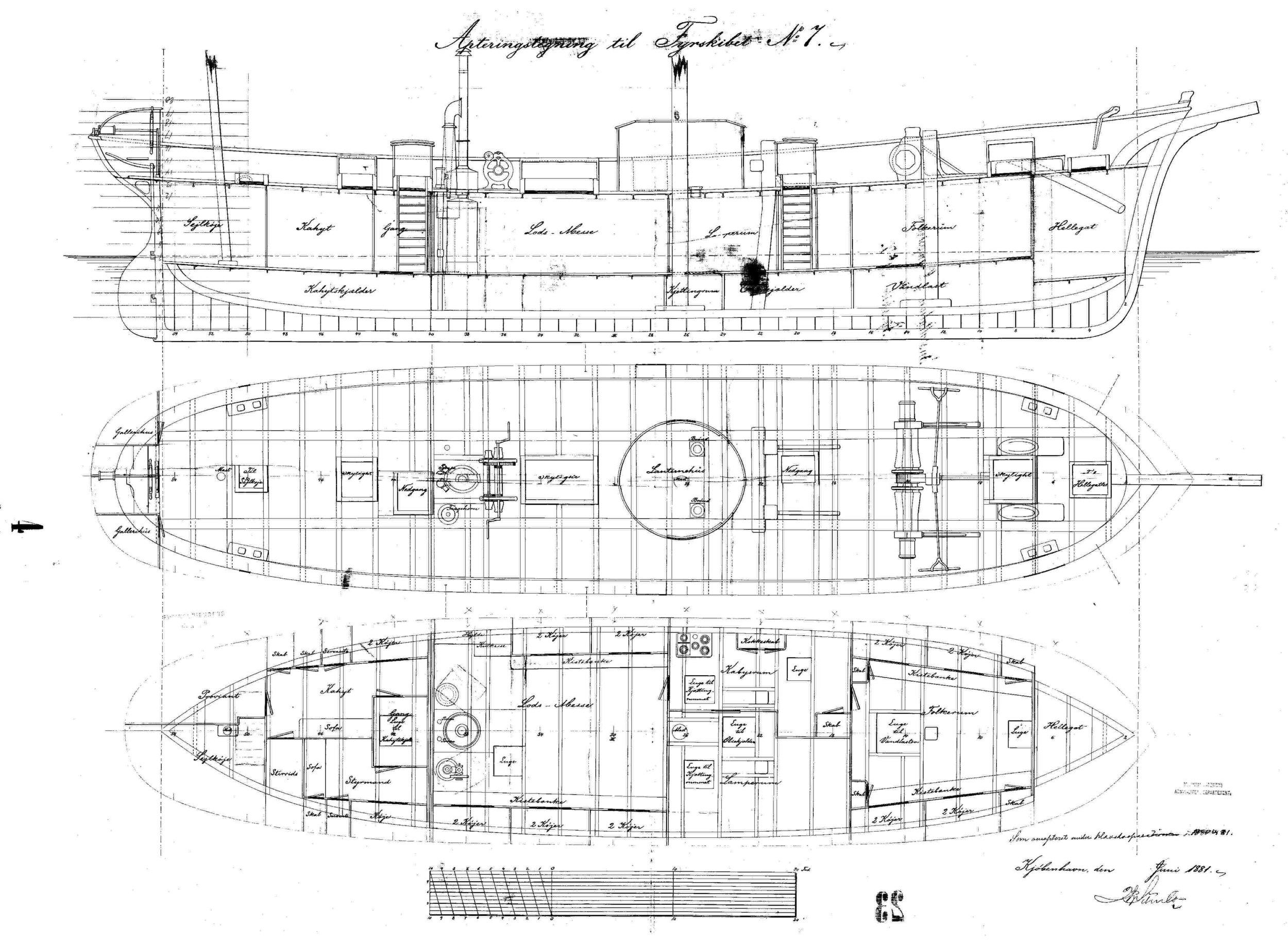 Tegning af fyrskib nr. VII