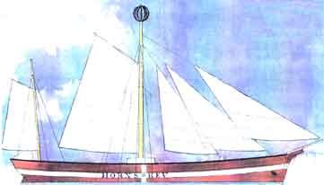 """Fyrskibet XI med satte sejl ,dengang var der ikke el ombord.Petroleumslamper blev hejst op i den centrale hovedmast.Tegning fra Orlogsværftet i København 1879.Billed: """"Royal danisch design"""" i Kolding DK"""
