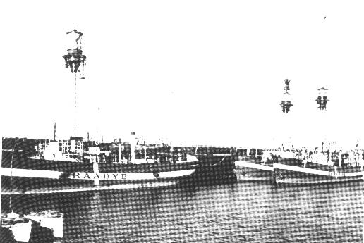 Fyrskib no: XXI oplagt i Esbjerg Havn. under 2.verdenskrig.Foto: Esbjerg Fiskeri- og Søfartsmuseet.