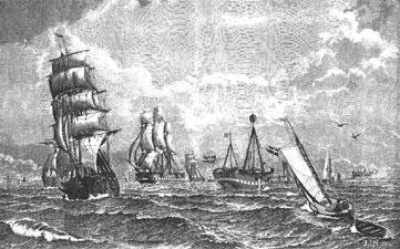 Das Feuerschiff XVII auf seiner Position 1886