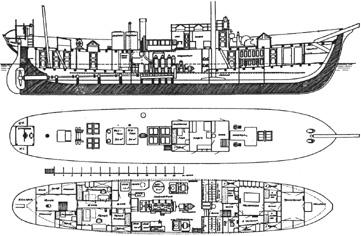 Zeichnung des Feuerschiffes No XVIII