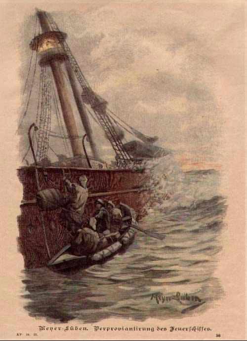 """Verpflegungsnachschub auf einem Feuerschiff. Gezeichnet: """"Meyer Lüben, Verproviantirung des Feuerschiffes"""" Datiert: XV. 14. 11"""