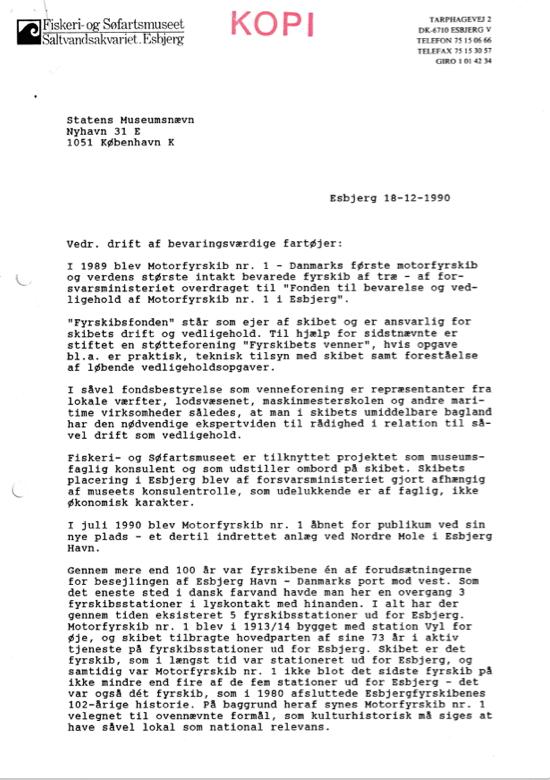 Vedr. drift af bevaringsværdige fartøjer – af museumsdirektør Morten Hahn-Pedersen –Esbjerg 18.12.1990