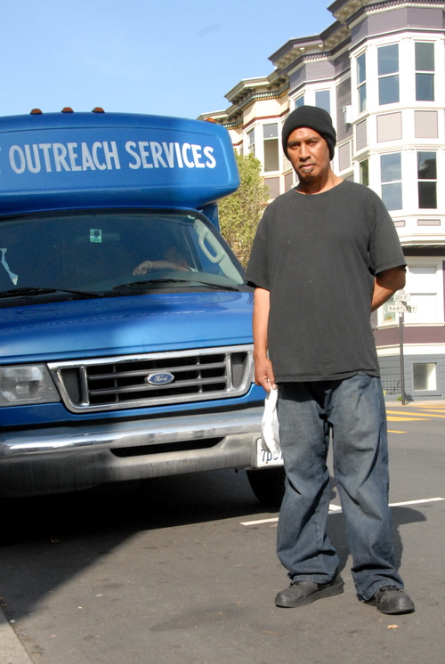 Kese - Kese and his family moved to the U.S. from American Samoa when he was nine. Now 50, he has been living on the streets of San Francisco for two years. He says he doesn't travel much and probably wouldn't get the services we provide elsewhere. SOS set up Kese with a primary care clinic, which he says is important to him because he has high blood pressure. He appreciates that the SOS team reminds him of his doctor appointments when they see him each week. (Photo credit: Marlena Hartman-Filson)