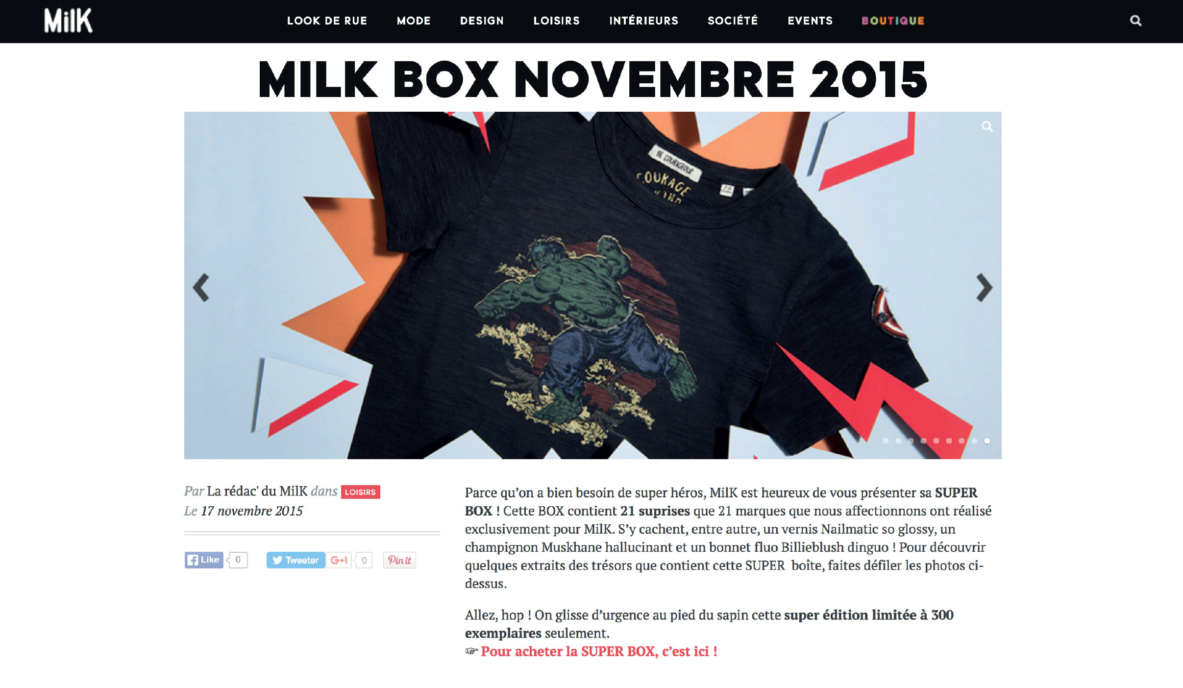 MILK MAGAZINE - MILK BOX Product 2015