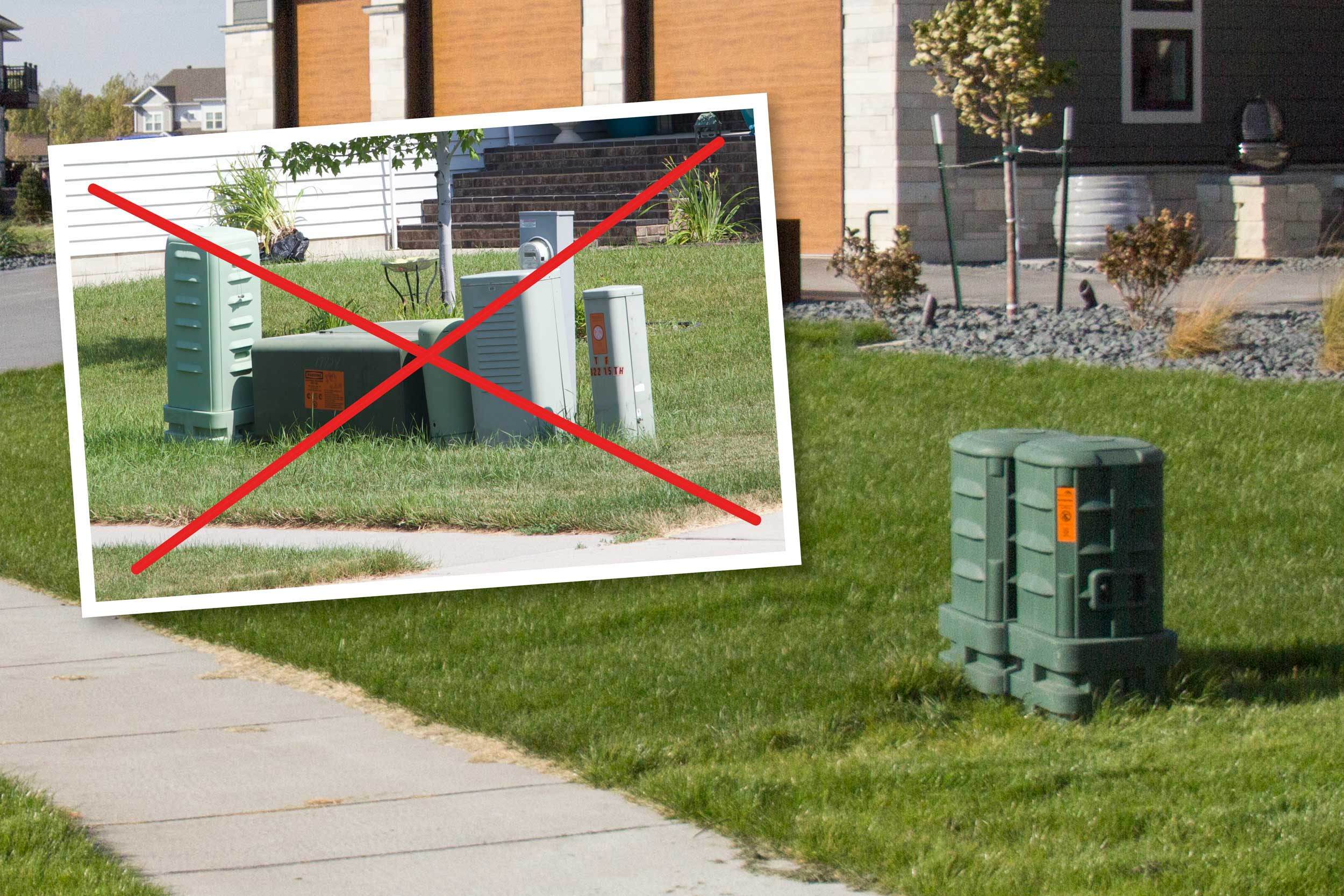 Limited Utility Boxes - To reduce yard clutter, we worked with cable providers Midco, Cable One and Century Link to utilize an identical communications pedestal matching the dark green electric transformers. The pedestals are also shared amongst providers to minimize the amount of boxes.