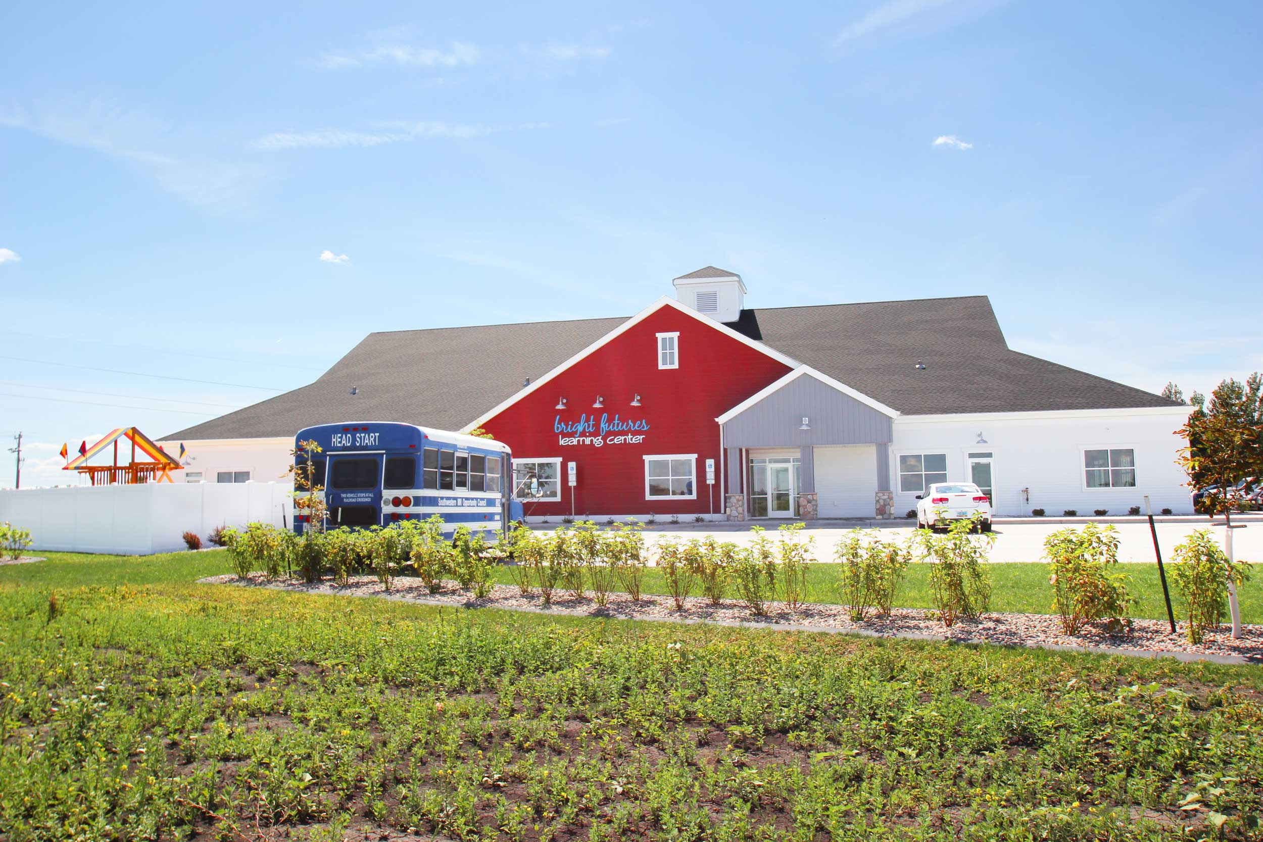 Childcare Center - Bright Futures Early Learning Center is located in the southwest corner of Rocking Horse Farm.