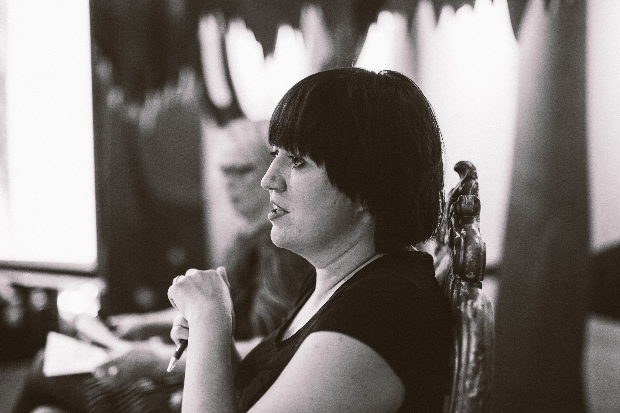 Taide työelämässä- seminaarin puhujana yhdessä työparini konsultti Marita Raitarannan kanssa 5.10.2017, case-esittelymme Taiteen ja konsultaation kohtaamisesta kaupunkiorganisaatiossa, kuva: Johannes Romppanen