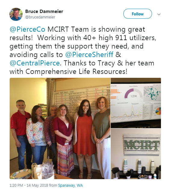 Our MCIRT Team is doing great work in Pierce County! - https://twitter.com/brucedammeier/status/996123015006994433?s=21