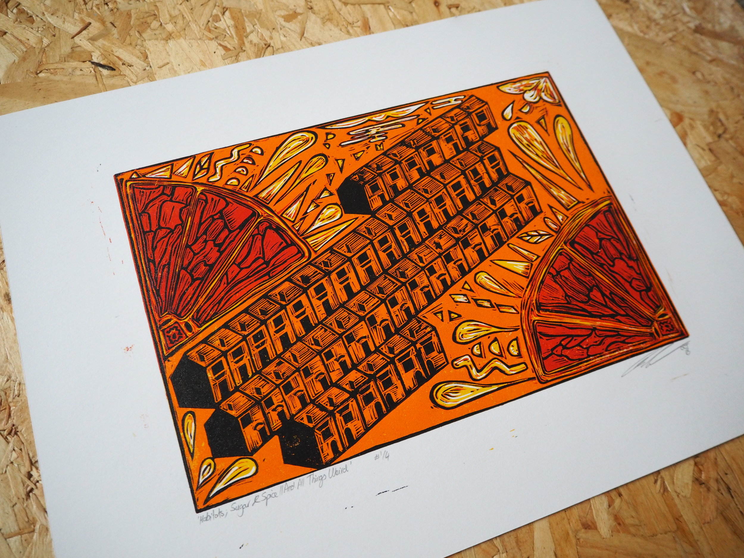 Linocut//Edition of 4//Cyclus Offset