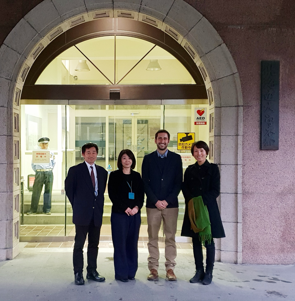 Tomo, Yoko, Martin, and Maki stand smiling at the end of their engagement and sharing of sustainable practices across Sapporo's Hokkaido University.
