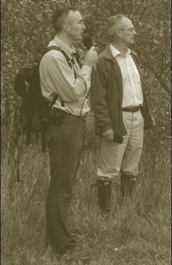 Gabriel Hemery (left) introduces Peter Savill to the assembled group.