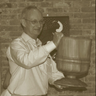 Peter proudly shows his WH massive Elm wassail bowl.