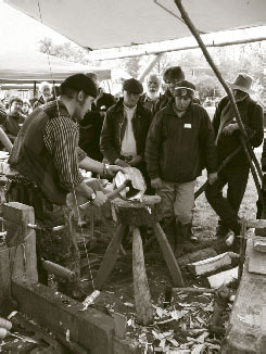 Ben Orford shows how to prepare a bowl blank for the pole lathe.