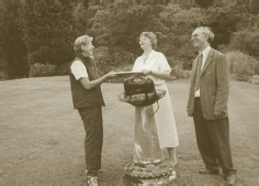Sally Goodwin presents Mr & Mrs Trevor with a Woodland Heritage commemorative bowl at the end of our visit to Trawscoed