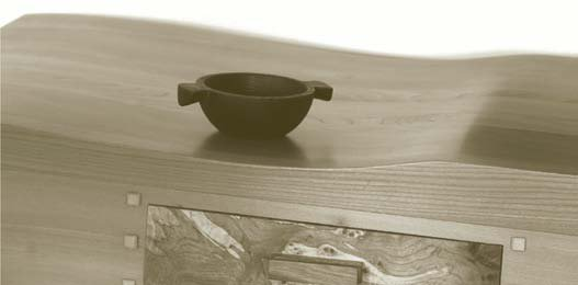 Elm table with spalted timber used for the drawer front (Woodschool Ltd)