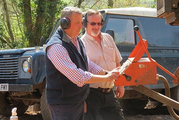 David Hammond gaining experience of the Wood-Mizer LT-40 under the watchful eye of David Biggs
