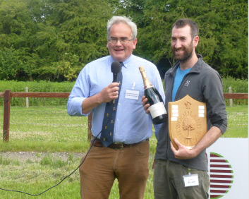 John Jackson - receiving the Prince of Wales Award 2016 from  Geraint Richards , Head Forester for the Duchy of Cornwall and Woodland Heritage Trustee