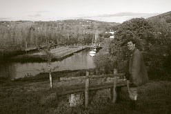 Bill Durlacher from Essex admires the view of Morwelham Quay across the river from Ferry Farm