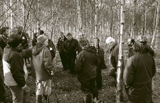 Discussion in the 9-year-old improved birch stand at Bolfracks.