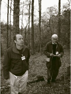 Drs Rick Worrell and Douglas Malcolm demonstrating plus trees at Killiekrankie
