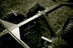 Detail of wind-on brake positioned on rear axle