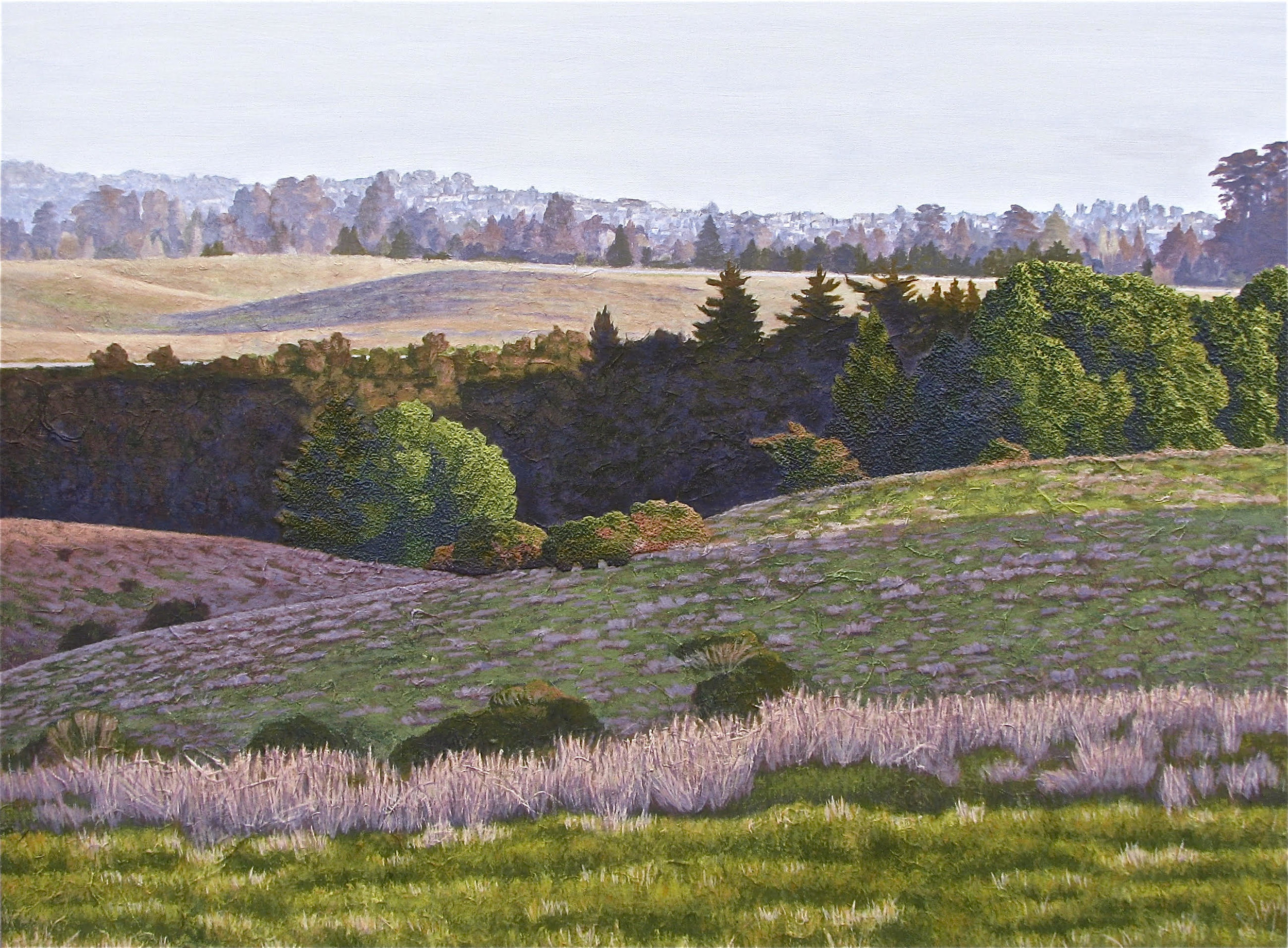 "Jeanne Rosen Sofen,  ""View of Santa Cruz""  (looking toward the East Meadow), acrylic and art papers on canvas."