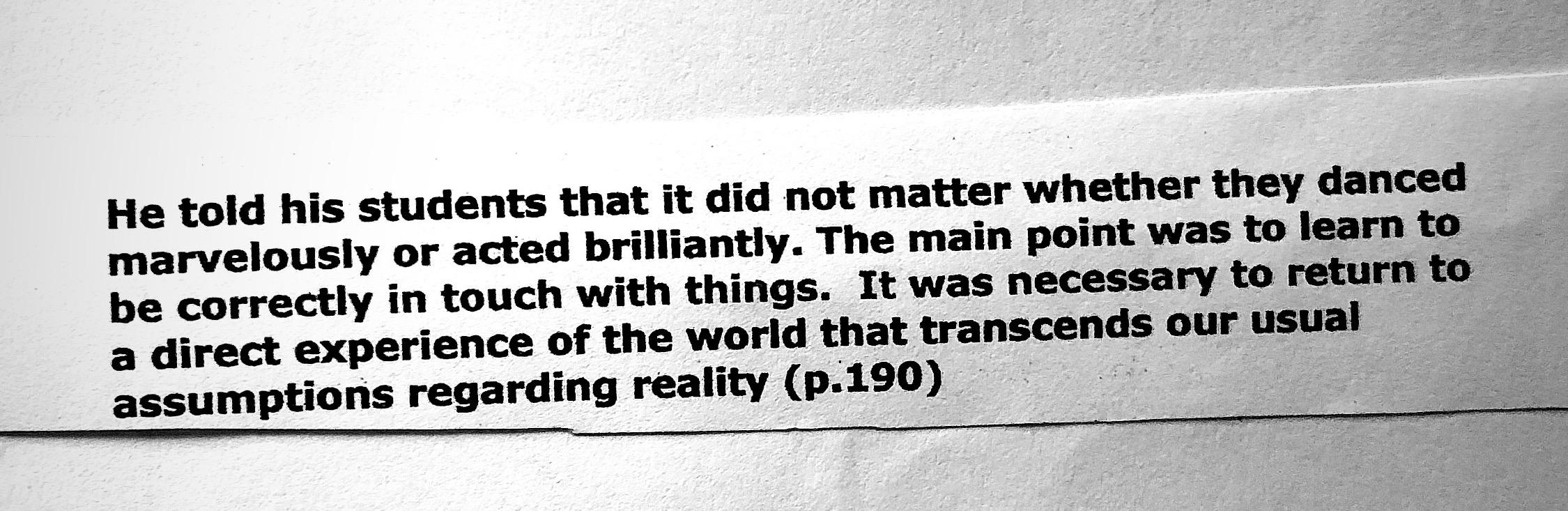 A note about Chogyam Trumpa Rimpoche taken from Steve Clorefeine's 'Sourcebook on Creative Process'
