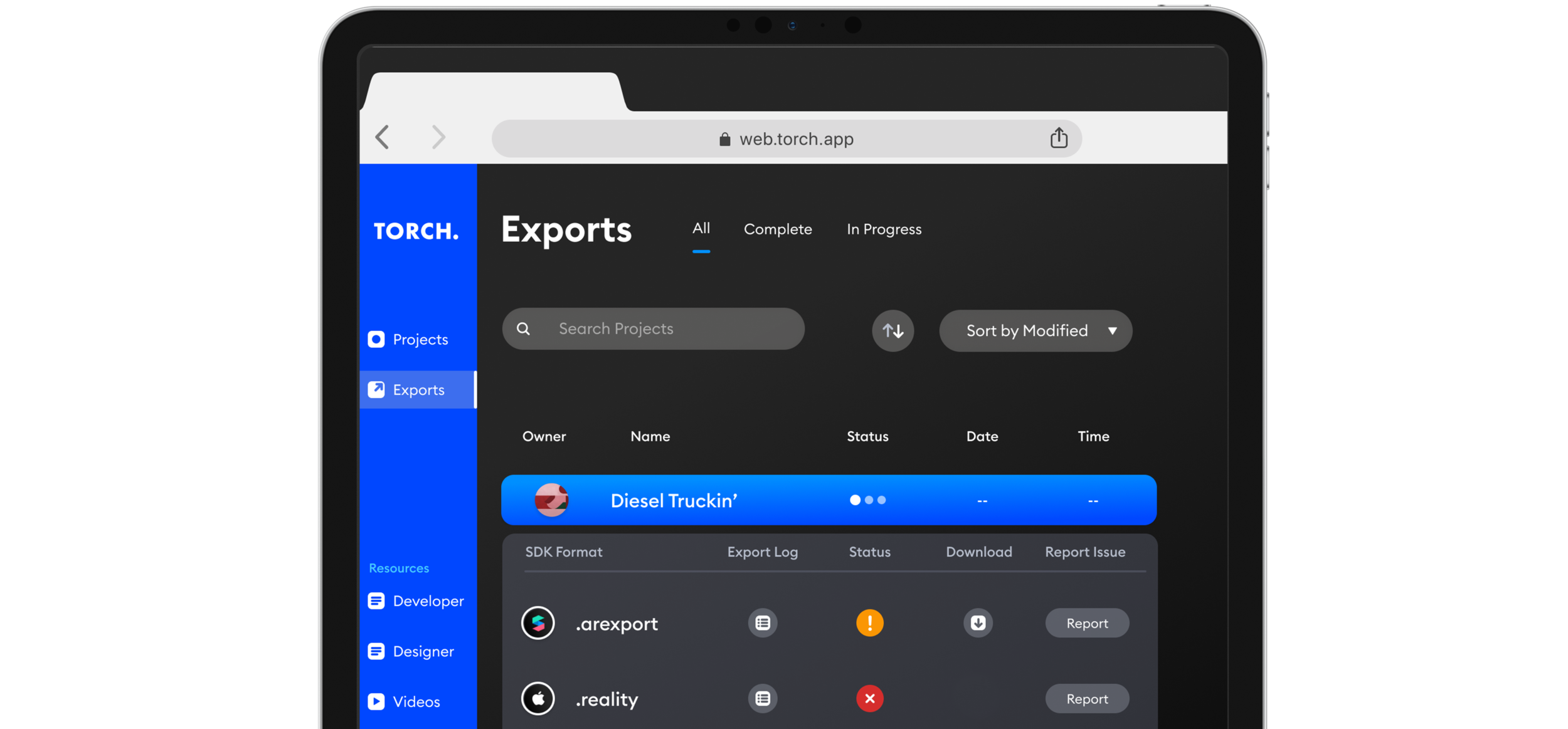 Detail of export list.