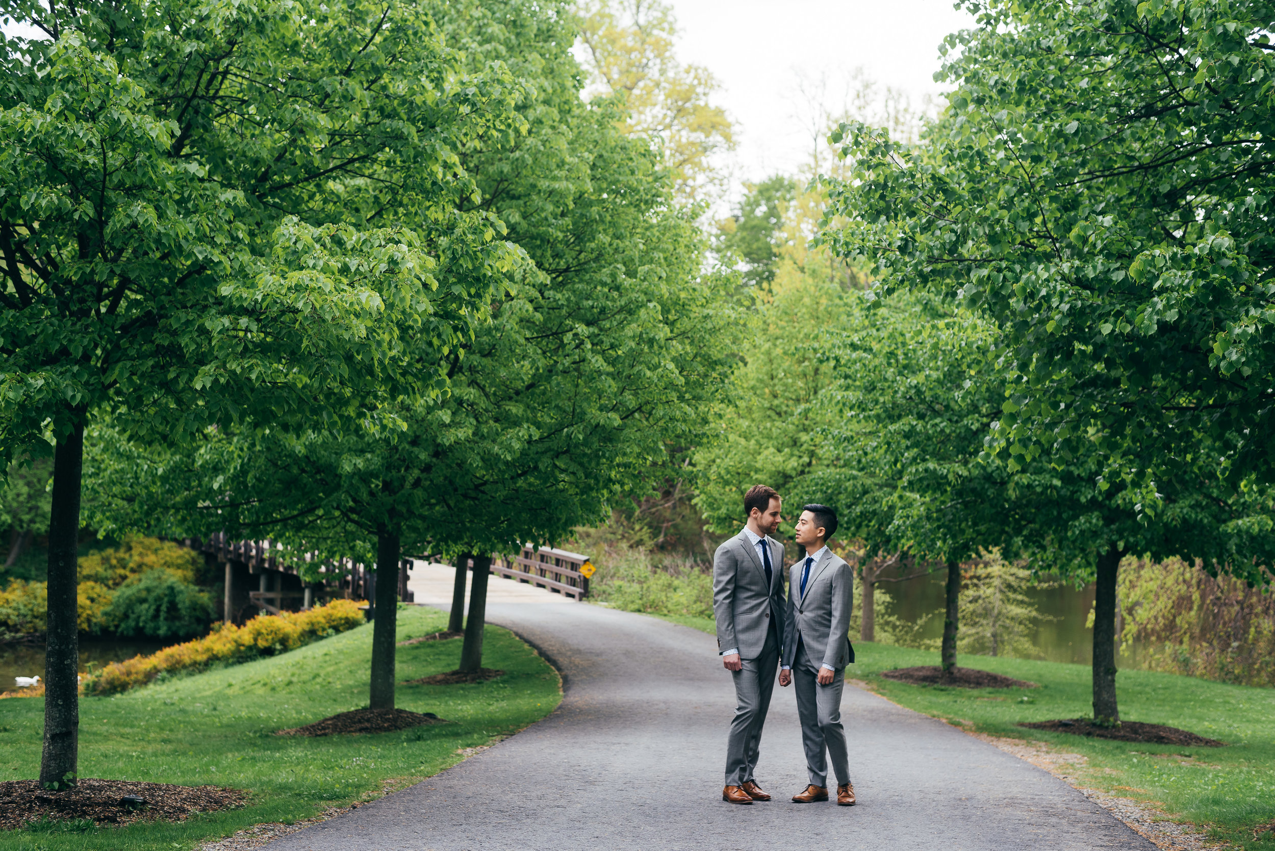 As we did their formal portraits prior to their same sex wedding ceremony, Chad and Eddie wanted to make sure they got to enjoy the property and the beautiful landscape around them in the Hudson River Valley. Buttermilk Falls Inn has all sorts of gorgeous gardens in and around the property, which was a lot of fun to explore and take photos with them in.