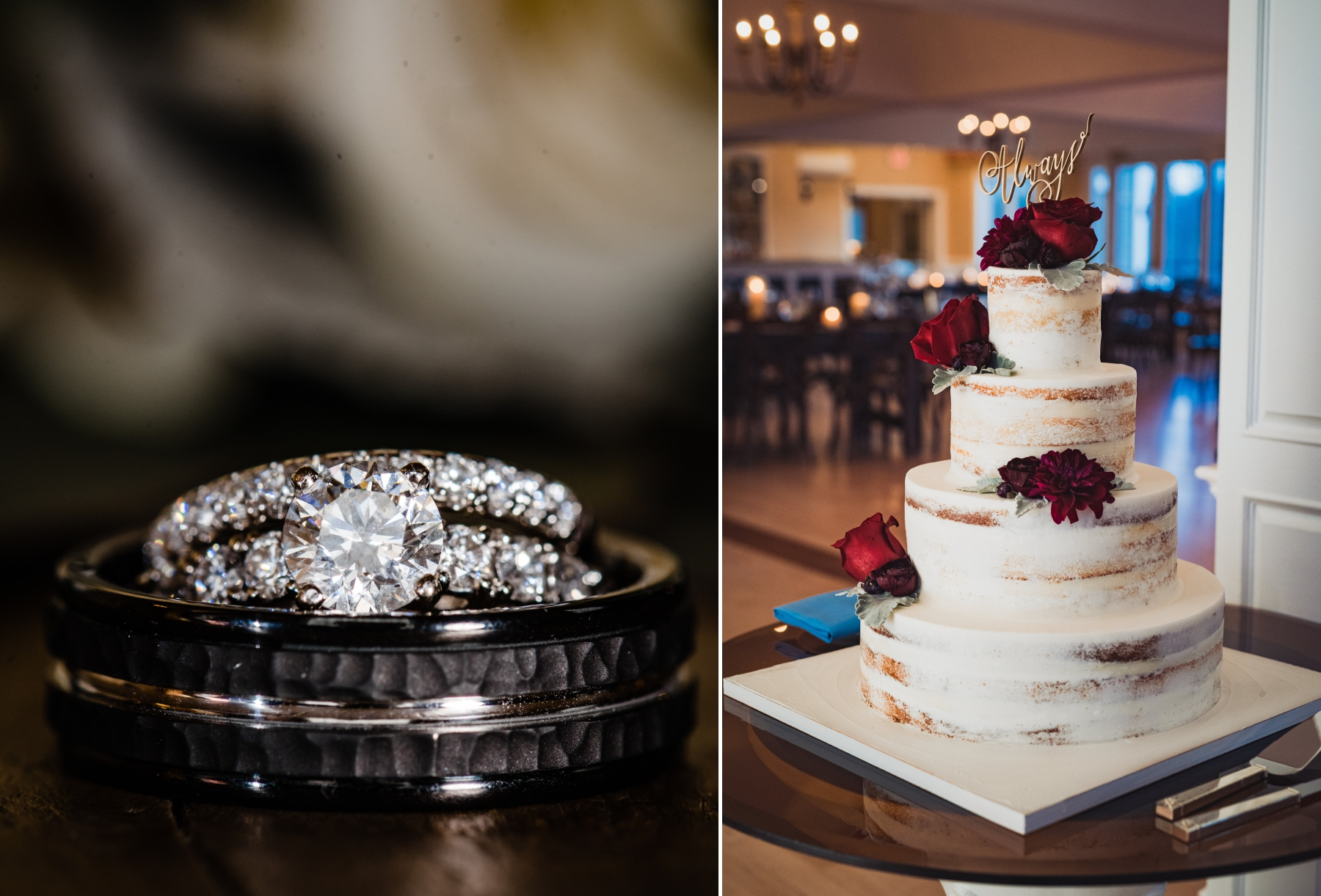 Cake and rings from Tara and Zach's New York / New Jersey wedding at Rock Island Lake Club.