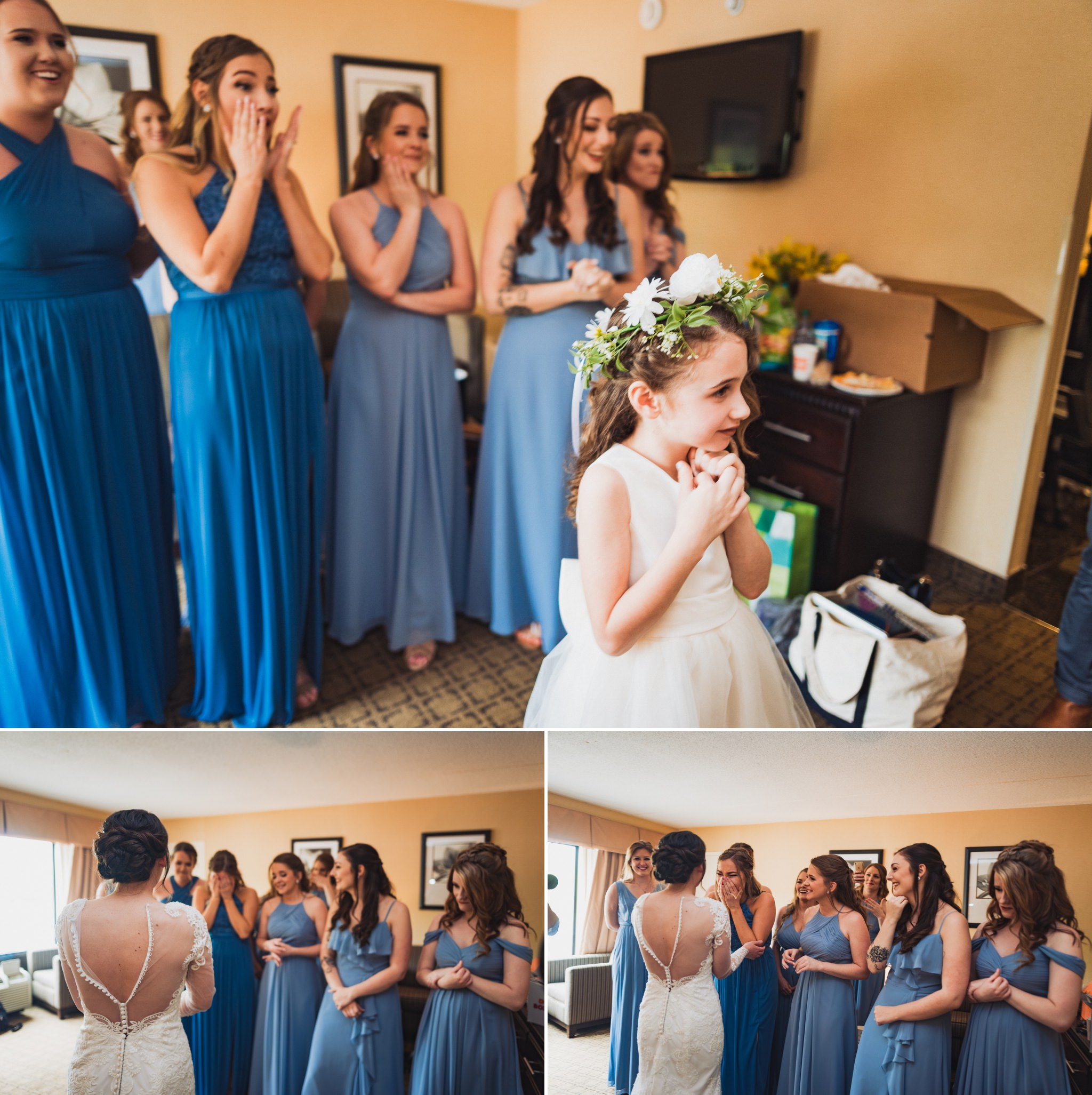 Scenes from the bridesmaid first look at Kelly in her wedding dress. One of her flower girls was in front because she was to open the door, revealing Kelly.