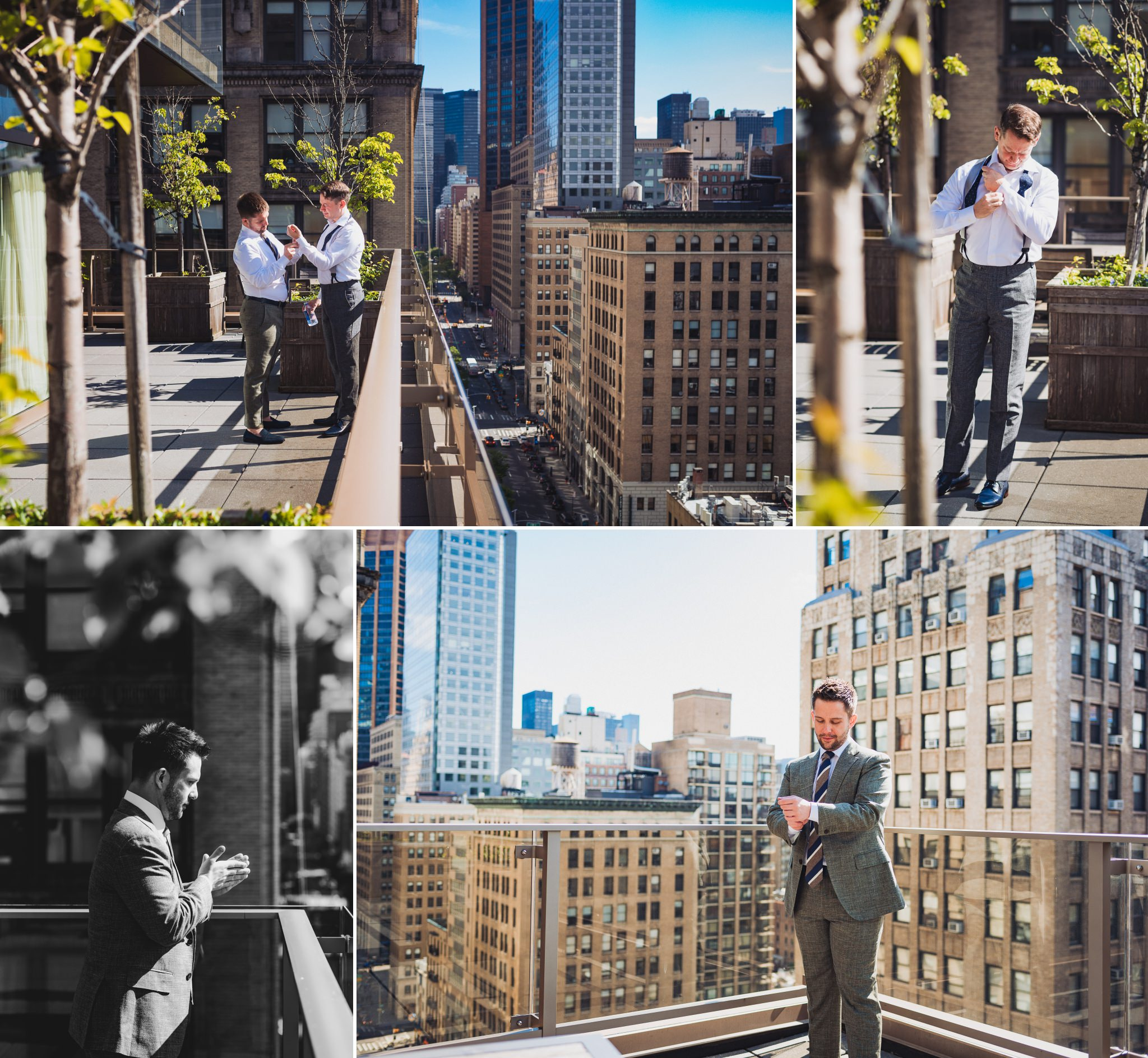 scenes from Brian and Scott's New York wedding, where they got ready together at the Royalton Park Avenue Hotel in Manhattan, New York.