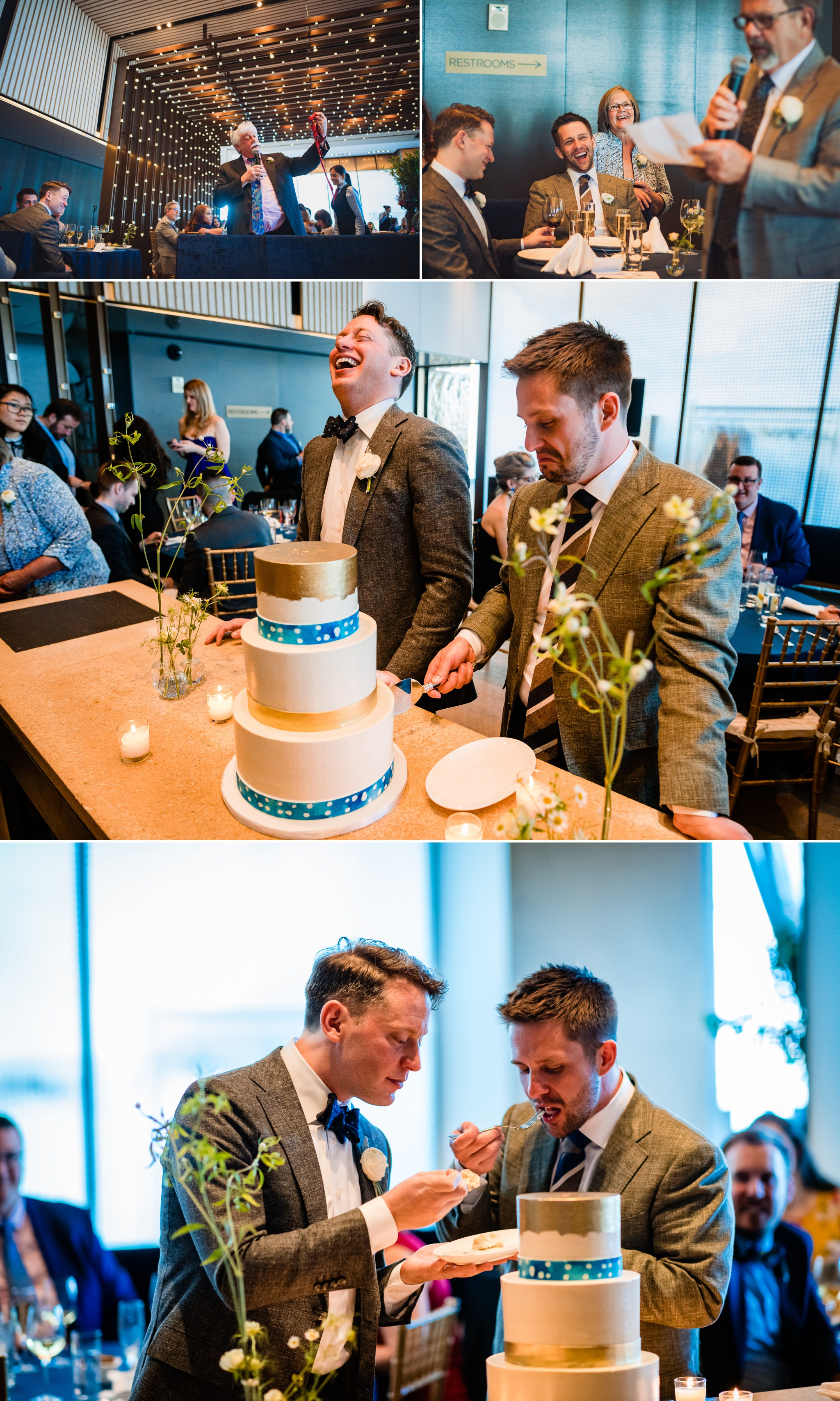 Scenes from Brian and Scotts brunch reception after their wedding ceremony at Riverpark NYC.  This is the cake cutting with a cake from Empire Cakes in Chelsea, Manhattan.