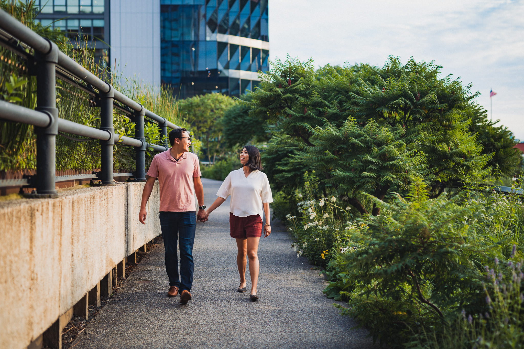 Photographs from Justine and Adrian's engagement session on the High Line in Chelsea, Manhattan. I love taking unique locations like this in New York to stretch myself creatively and try something new.