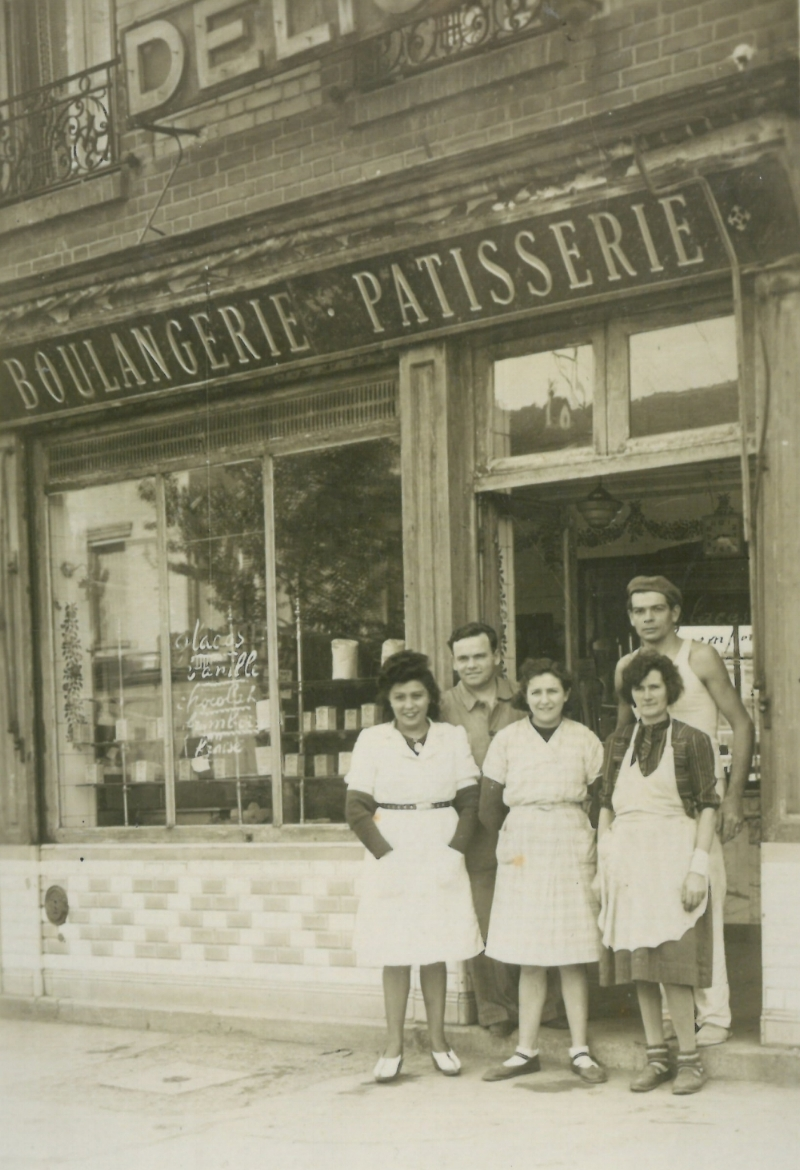 René and Andrée; here in front of their boulangerie in Paris, circa 1947. -