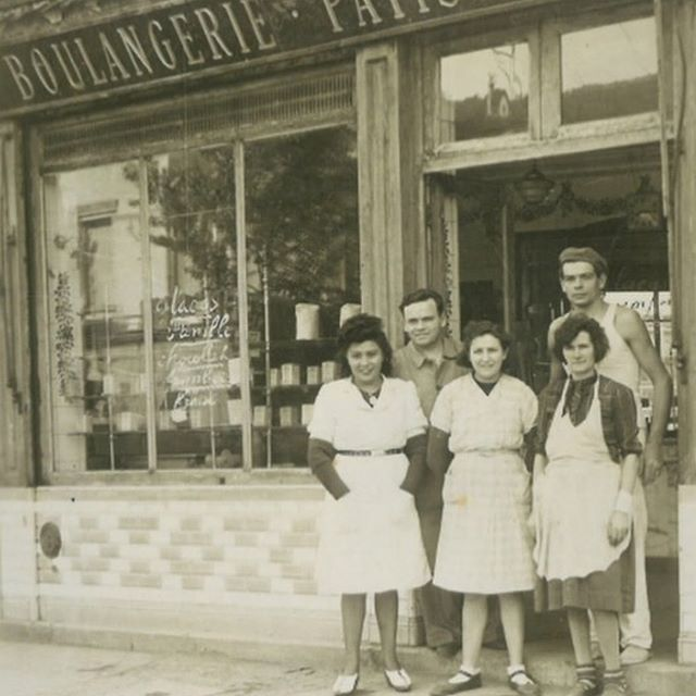 Hi there 👋🏼 here my great grand parents ( far left ) in front of their bakery in Paris around 1947. I started Maison Chace en hommage to them; as a way to be home away from home so to speak. I arrived to the states about 8 years ago and missed the taste of good croissants SO MUCH i decided to learn how to make it myself.  From then is born an absolute passion & a mission to share my family tradition with you.  Hope you enjoy !