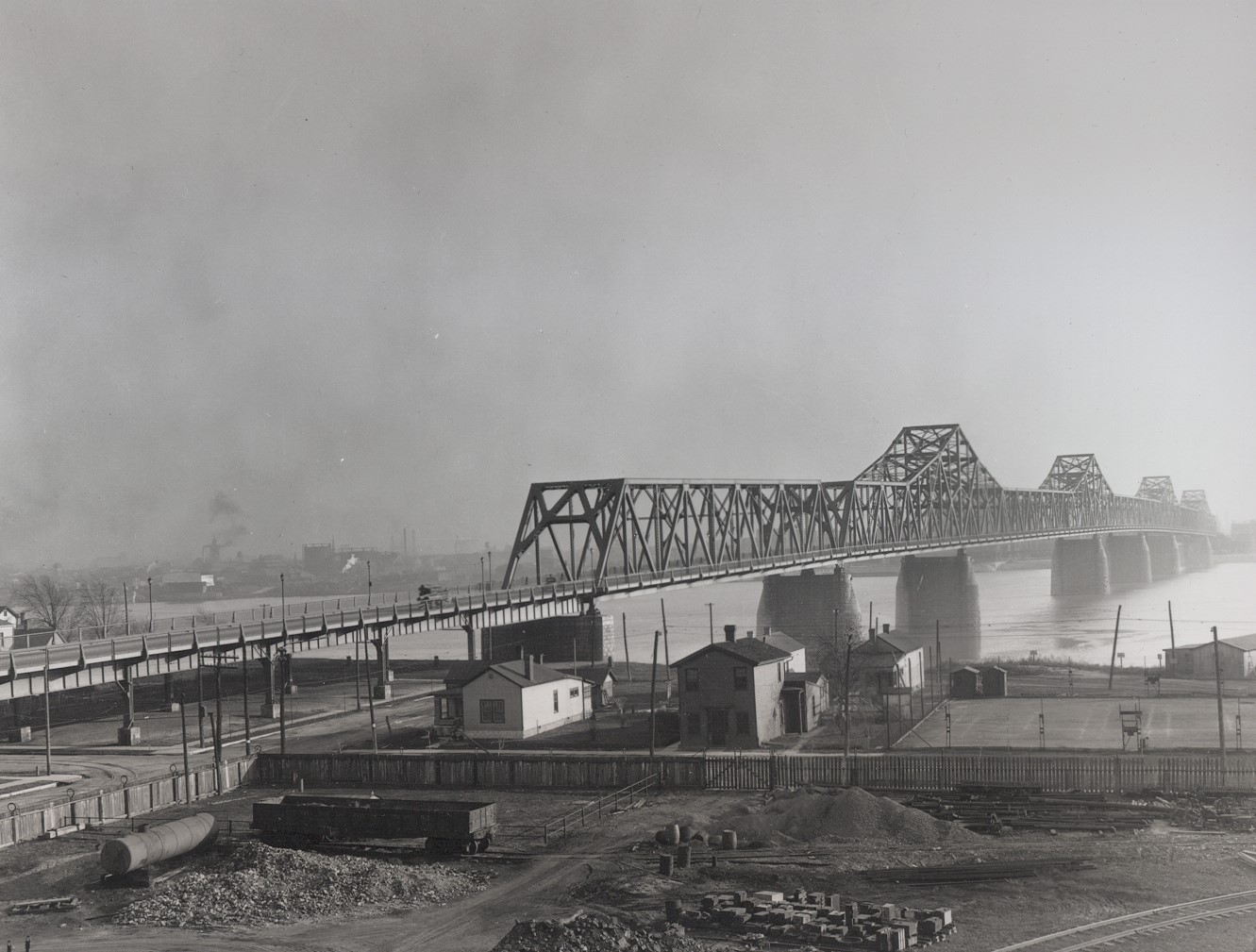 View looking south towards the Second Street Bridge.