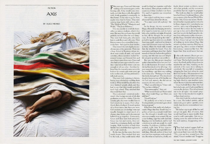 "Photograph for  The New Yorker    ,  ""Axis"" by Alice Munro, January 31, 2011: 65"