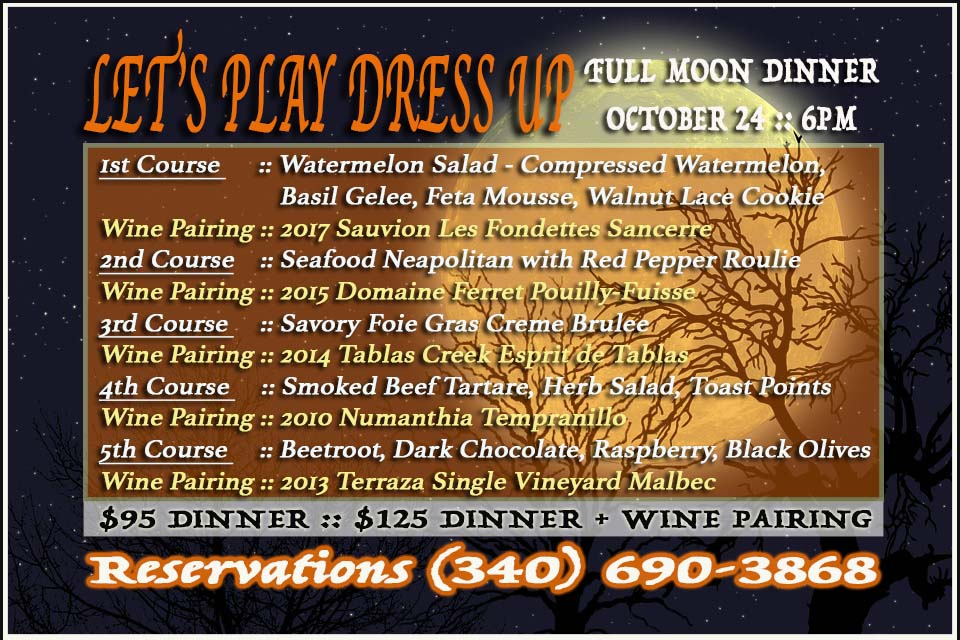 Menu for October's Full Moon Dinner
