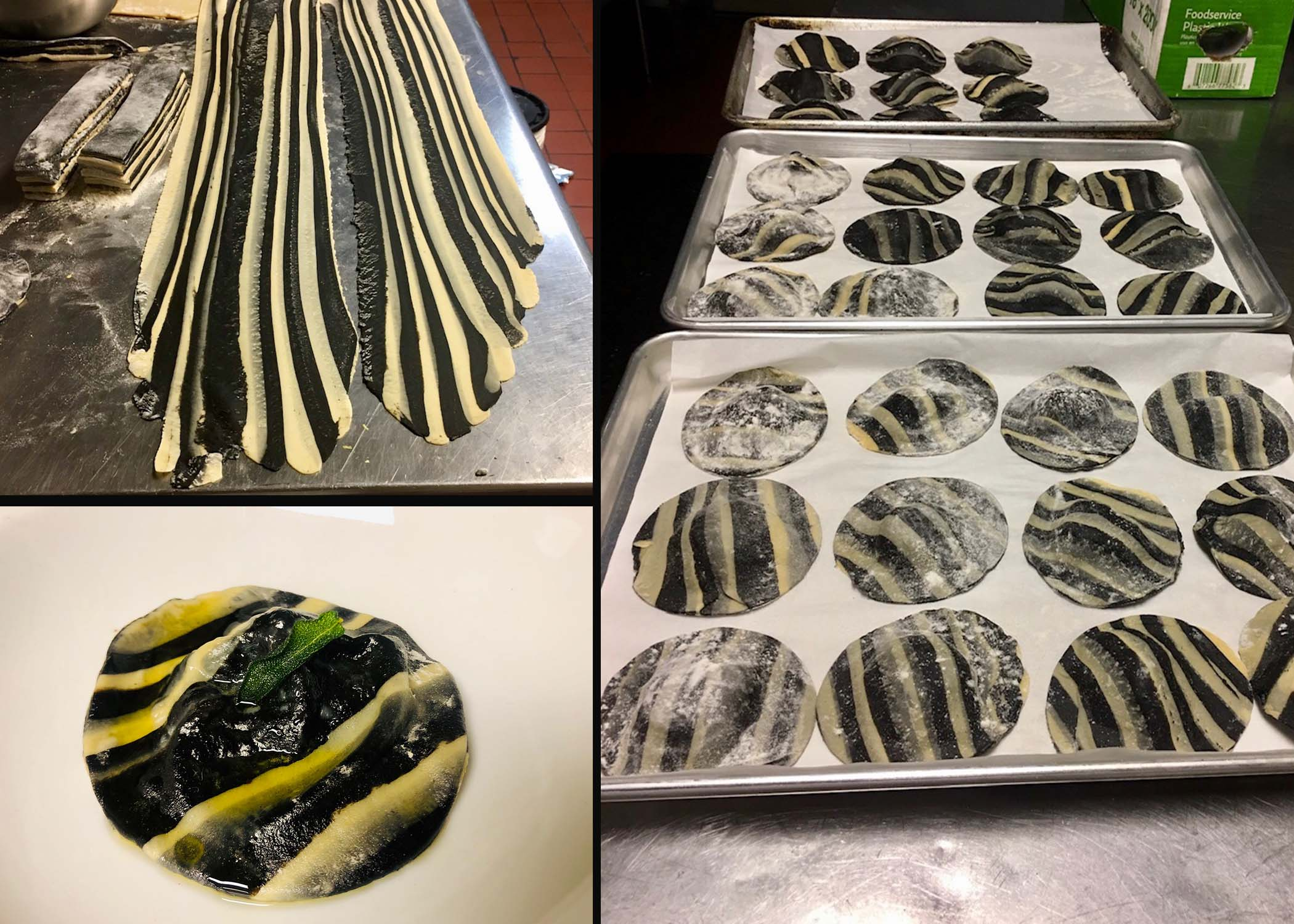 Lobster stuffed striped ravioli with sage brown butter and crispy sage leaf