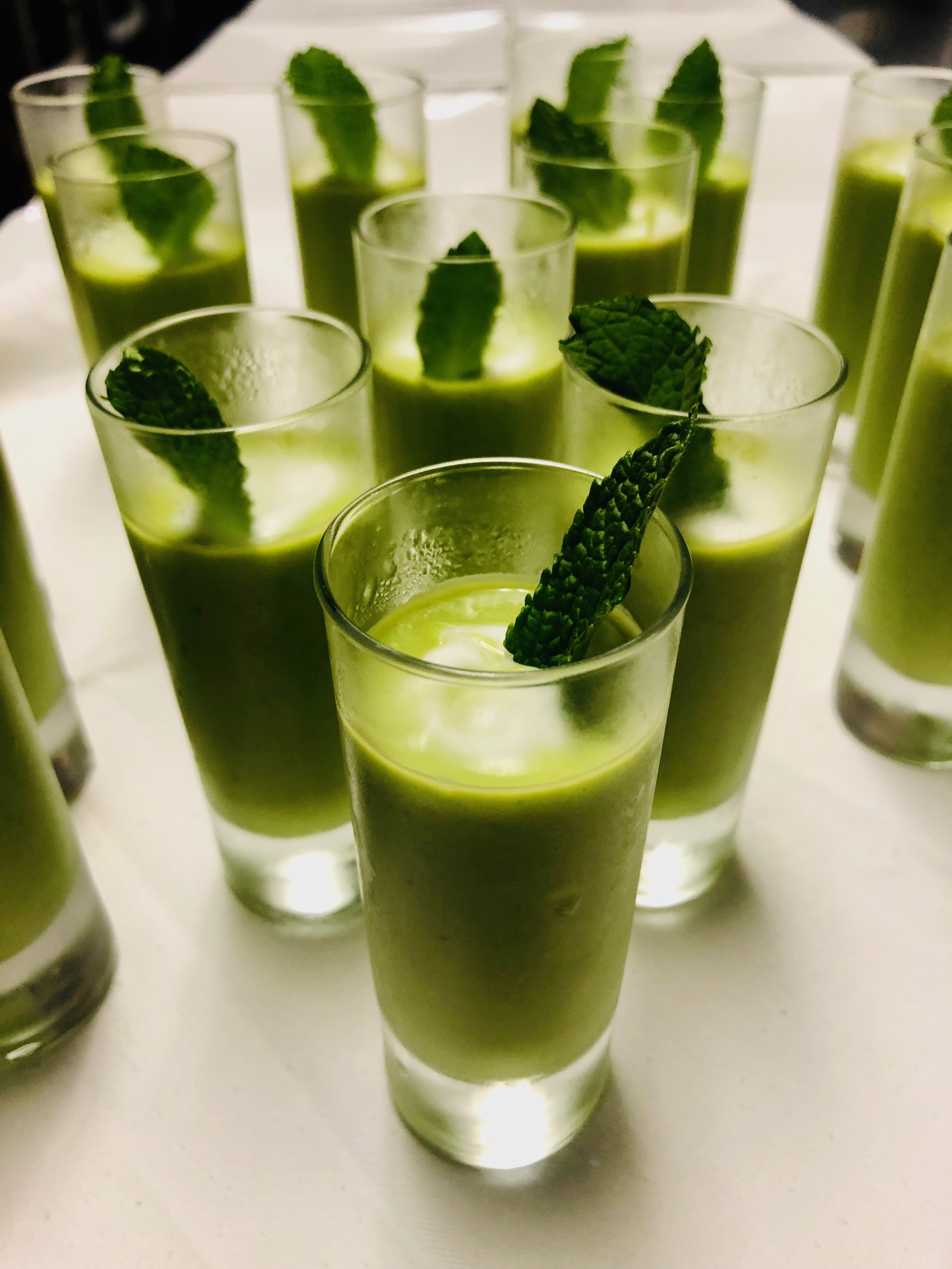 Amuse: Chilled Pea Soup with Lemon Cream
