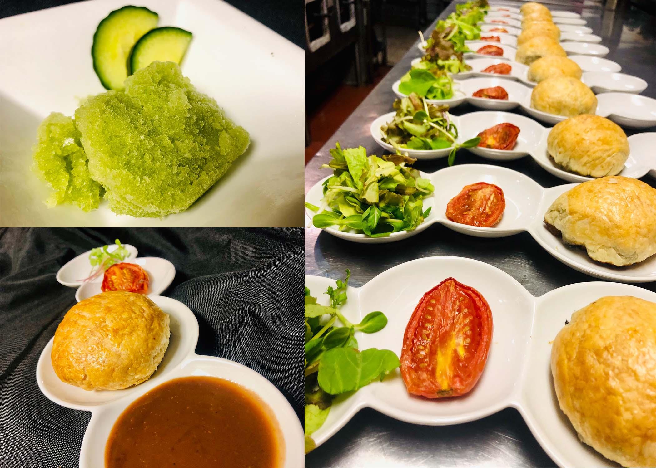 (Top Left) Intermezzo: Cucumber Lime Granita (Bottom Left and Right) Second Course: Portobello Wellington With Mushroom Herb Jus