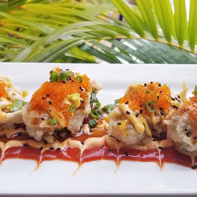 Check👏out👏these👏POPPERS!👏 Fresh tempura-fried jalapenos stuffed with spicy crab salad, cream cheese, topped with spicy mayo, sesame, tobiko, and eel sauce... mouthwatering staff favorite 👌
