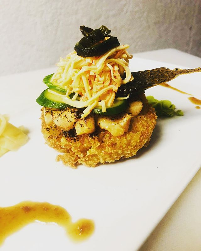 "Open faced crispy rice ""bun"" / miso-torched Salmon Belly / cucumber / spicy crab salad /roasted poblano / salmon skin cracklin' / ginger teriyaki  #nomnomnom  #seafooddiet  #sushinotsushi  #sushiburger  #eatme #restaurantlife  #cheflife  #virginislandsnice🇻🇮"