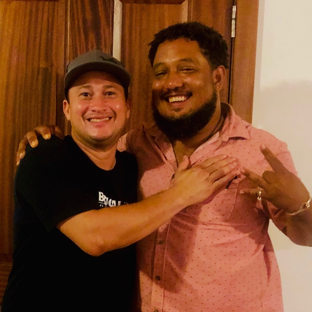 Chef Mathayom (left) with guest Chef Frank Robinson of BES Craft Cocktail Lounge, STX.