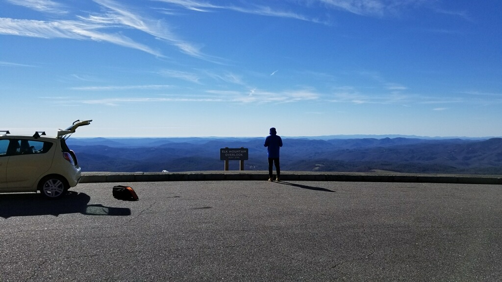 Dustin shoots the Blue Ridge mountains with a drone for his film, 32 °