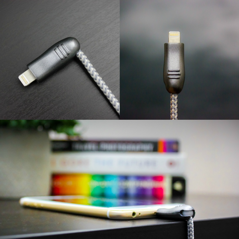 World's first Fully Flexible cable - USB93 doesn't bend, it rotates. Unique metal ball connector can rotate 90° and can hold 3 different positions; Left, bottom or straight, whatever is convenient for you. No more stressing the wires while you use your connected devices and no more buying a new cable every few months!