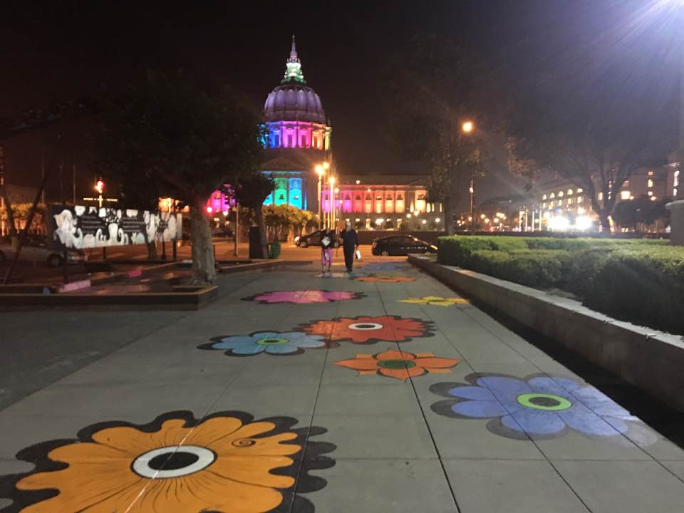 Walking along the  Flower Interruption  towards City Hall