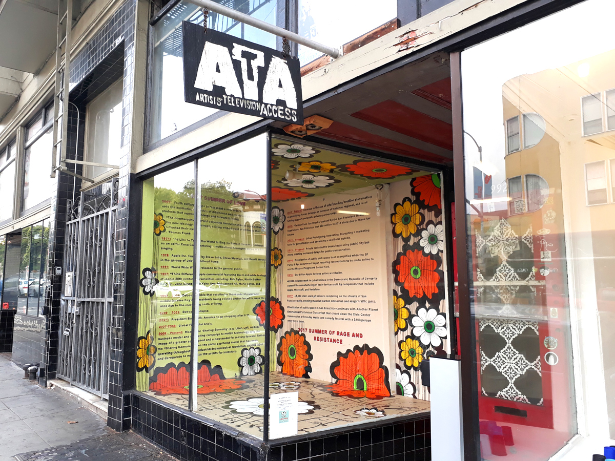 Satellite project window installation at ATA (Artists' Television Access) on Valencia at 20th streets.